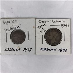 1874 English Shilling & 1875 English Sixpence Coins