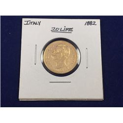 1882 Italy Gold 20 Lire Coin .900 Pure Gold - 21mm Diameter