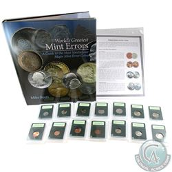 """Rare USA Major Error 14-Coin Collection with """"World's Greatest Mint Errors"""" Book. You will receive 1"""