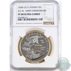 2008 Canada $1 Gilt RCM 100th Anniversary NGC Certified PF-68 Ultra Cameo (TAX Exempt)