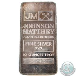 Vintage 10oz Johnson Matthey .999 Fine Silver Bar (toned) TAX Exempt