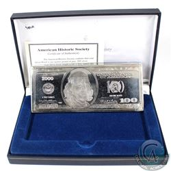 2000 American Historic Society 4oz $100 Federal Reserve Note Design .999 Fine Silver Bar in Display