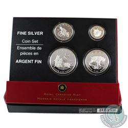 2005 Canada Fractional The Lynx .9999 Fine Silver 4-coin Set (outer sleeve lightly worn, 1oz coin is