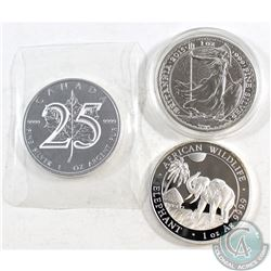 2013 Canada $5 25th Anniversary .9999 Silver Maple Leaf, 2015 Great Britain 1oz .999 Silver Britanni