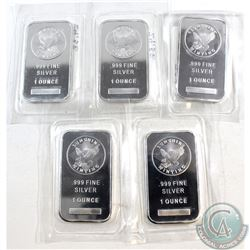 Lot of 5x 1oz Sunshine .999 Fine Silver Bars Sealed in Plastic. 5pcs (TAX Exempt)