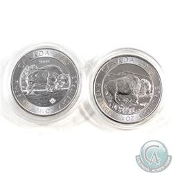 2015 & 2016 Canada $8 Bison 1.25oz .9999 Fine Silver Coins in Capsules (coins have light toning). 2p