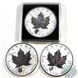 Lot of 3x 2017 Canada $5 1oz .9999 Fine Silver Maple Leaf with Privy Marks - Rooster, Moose & Cougar