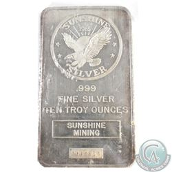 Vintage 1985 Sunshine Minting 10oz .999 Fine Silver Bar Sealed in Plastic (TAX Exempt)
