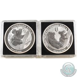 2011 Australia 1oz Koala with Berlin Bear Privy & 2013 1oz Koala .999 Fine Silver Coins (2011 privy