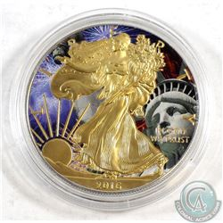 2016 USA $1 Silver Eagle Gold Plated & Coloured 1oz .999 Fine Silver Coin in Capsule. TAX Exempt