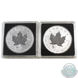 2014 Horse & 2015 Sheep Canada $5 Fine Silver Privy Maple Leafs (coins are toned). 2pcs (TAX Exempt)
