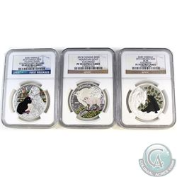 3x 2015 Canada $20 Baby Animals Series NGC Certified Fine Silver Coins. This lot includes the 2015 C