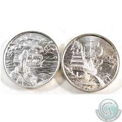 2x 2oz Privateer Series .999 Fine Silver Coins - The Storm & The Siren (Small toning spot on the Sir