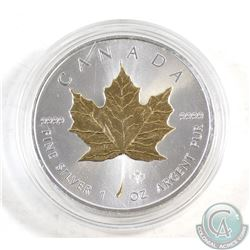 2014 Canada $5 Gold Plated .9999 Fine Silver Maple Leaf in capsule (coin lightly toned) TAX Exempt