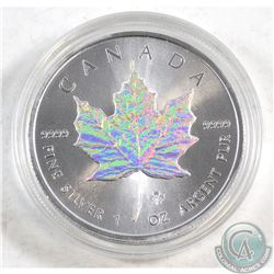 2014 Canada $5 Holographic .9999 Fine Silver Maple Leaf in capsule (coin lightly toned) TAX Exempt