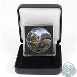 2014 Canada $5 Peregrine Falcon Coloured .9999 Fine Silver Maple Leaf in Capsule & Black Display Box