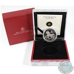 2014 Canada $15 Zodiac Year of The Horse Fine Silver Coin (Tax Exempt)