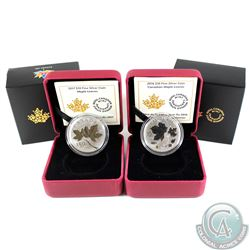 2016 & 2017 Canada $10 Maple Leaves Fine Silver Coins (Tax Exempt). Please note the 2017 outer black