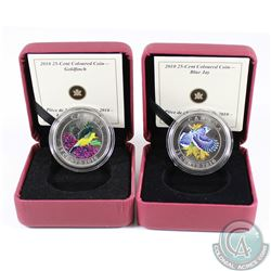 2010 Blue Jay & 2010 Goldfinch Canada 25-cent Coloured Coins. 2pcs.