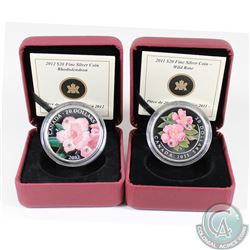 2011 Wild Rose & 2012 Rhododendron Canada $20 Swarovski Crystal Fine Silver Coins (Tax Exempt). Plea