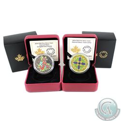 2014 Canada $20 Stained Glass- Casa Loma & Craigdarroch Castle Fine Silver Coins (Tax Exempt) 2pcs.