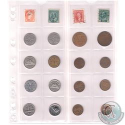 Mixed Page of 16x Canadian 1-cent & 5-Cent Coins with 4x Stamps. Dates range from 1909-1967. Page so