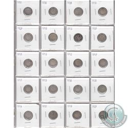 Mixed Page of 20x Canadian Silver 10-Cent Coins. Dates range from 1901 to 1936. Page sold as is. Ple