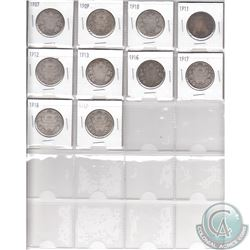 Estate Lot of 10x Canadian Silver 50-cent Coins. Dates range from 1907-1919. Page sold as is. Please