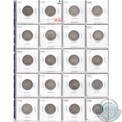 Mixed Page of 20x Canadian Silver 25-Cent Coins. Dates range from 1872 to 1936. Page sold as is. Ple