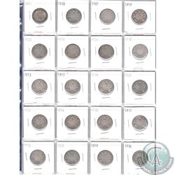 Mixed Page of 20x Canadian Silver 25-Cent Coins. Dates range from 1870 to 1936. Page sold as is. Ple
