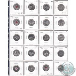 Mixed Page of 20x Canadian Commemorative 25-cent Coins. Dates range from 1992 to 2006. Page sold as