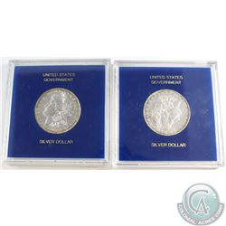 1883-O & 1885-O United States Morgan Silver Dollars in protective cases. 2pcs.