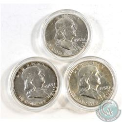 1958 & 2x 1963 United States Half Dollars encapsulated. 3pcs.