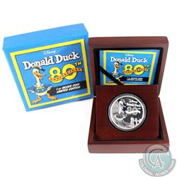 2014 New Zealand $2 80th Anniversary of Donald Duck 1oz Fine Silver Coin (Tax Exempt)