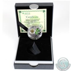 2014 Niue $1 'Four Leaf Clover' Fine Silver Coin (Tax Exempt). Mintage 3,333. Please note outer box