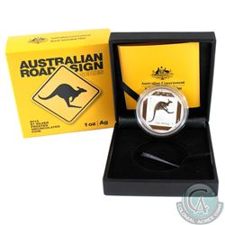2013 Australia $1 Road signs 'Kangaroo' Silver Frosted Uncirculated coin (Tax Exempt)