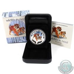 2012 Tuvalu $1 Wildlife in Need Siberian Tiger Coloured 1oz Fine Silver Proof Coin (capsule lightly