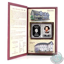 2014 Niue $2 1oz 450th Anniversary of William Shakespeare Fine Silver Coin in Book-Style Packaging (