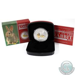 2011 Australia $1 Lunar Year of the Rabbit Gilded 1oz Fine Silver Coin. TAX Exempt