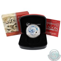 2012 Australia $1 Lunar Year of the Dragon Blue ANA Fine Silver Coin (TAX Exempt)
