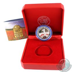 1918-2008 Australia 90th Anniversary of the End of WWII Fine Silver Coloured Coin (capsule is lightl