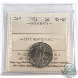 1922 Canada 5-cent ICCS Certified MS-63