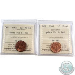 Pair of 1965 Canada 1-cent ICCS Certified MS-65 LgeBds Blt 5 & SmBds Ptd 5. 2pcs