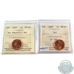 2009 Canada 1-cent ICCS Certified MS-66 Non Magnetic & 2009 1-cent ICCS Certified MS-67 Magnetic; Re