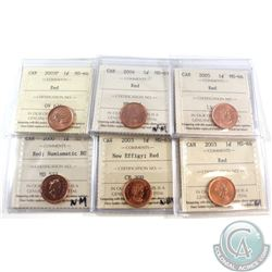 Estate Lot of 7x Canada 1-cent ICCS Certified Coins: 2000 MS-67 NBU, 2003 New Effigy MS-65, 2003 MS-