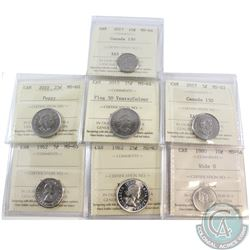Estate Lot of 7x Canada ICCS Certified Coins. This lot includes: 1962 5c ICCS ME-63, 2017 Canada 150