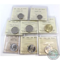 Estate Lot of 8x Canada ICCS Certified Coins. This lot includes: 2017 Canada 150th 5-cent MS-64, 201