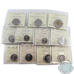 Estate Lot of 11x Canada ICCS Certified Coins. This lot includes the following: 1962 5c MS-63, 1966