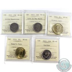 Estate Lot of 5x Canada 25-cent and Loon Dollar. This lot includes: 2013 25-cent Arctic Expedition M