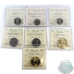 Estate Lot of 7x Canadian ICCS Certified Coins. This lot includes: 2017 Canada 150 5c MS-65, 1980 Na